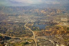 Aerial view of San Dimas and Puddingstone Reservoir, view from w. Indow seat in an airplane, California, U.S.A stock image