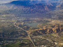 Aerial view of San Dimas and Puddingstone Reservoir, view from w. Indow seat in an airplane, California, U.S.A stock photography