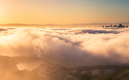 Aerial view of san francisco above the fog Royalty Free Stock Images