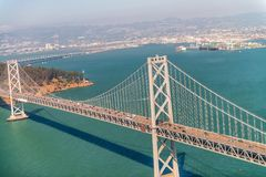 Aerial view of San Francisco Bay Bridge from helicopter Stock Photos