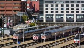 Aerial view of San Francisco Caltrain depot rail station termina. SAN FRANCISCO - MAY 21 2015:Trains at Caltrain depot rail station terminal.With average of 422 Stock Photo
