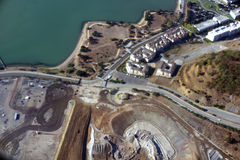 Aerial View of San Francisco Candlestick Park dirt hole and shor Royalty Free Stock Image