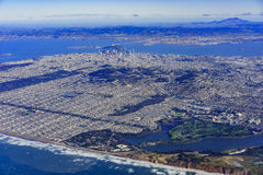 Aerial view of San Francisco downtown cityscape Royalty Free Stock Photos