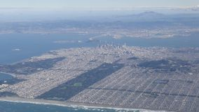 Aerial view of San Francisco downtown cityscape stock video
