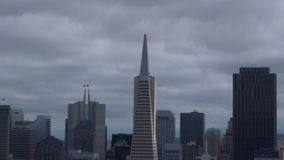 Aerial view of San Francisco financial center skylin stock footage