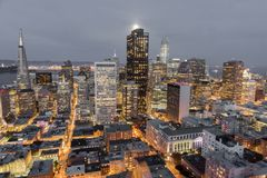 Moonshine over San Francisco Downtown. Aerial view of San Francisco Financial District as seen from a building rooftop in Nob Hill Stock Photography