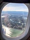flying into San Francisco National Airport stock photos