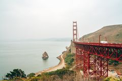 Aerial view of the San Francisco Golden Gate bridge. royalty free stock photography