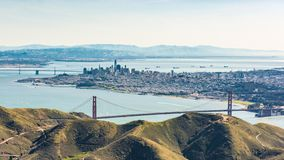 Aerial view of San Francisco and Golden Gate Bridge. royalty free stock photography