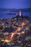 Aerial view of San Francisco at Night. Aerial cityscape view of San Francisco at Night, California, USA Royalty Free Stock Photo