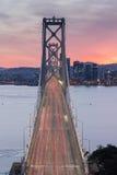 Aerial View of San Francisco-Oakland Bay Bridge at Sunset. Vertical View of San Francisco-Oakland Bay Bridge from Yerba Buena Island stock photo