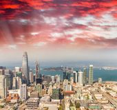 Aerial view of San Francisco skyline on a beautiful sunny summer Stock Photography