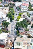 Aerial view of San Francisco street and homes Royalty Free Stock Photography