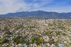 Aerial view of the San Gabriel Mountains and Arcadia area. Afternoon aerial view of the San Gabriel Mountains and Arcadia area at Los Angeles, California royalty free stock images