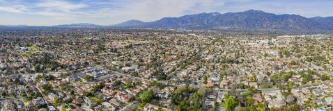 Aerial view of the San Gabriel Mountains and Arcadia area. Afternoon aerial view of the San Gabriel Mountains and Arcadia area at Los Angeles, California stock photos