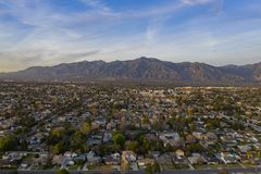 Aerial view of the San Gabriel Mountains and Arcadia area. Sunset aerial view of the San Gabriel Mountains and Arcadia area at Los Angeles, California stock photos