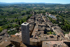 Aerial view of San Gimignano city in Tuscany, Italy. Royalty Free Stock Image