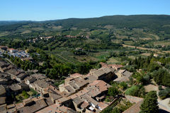 Aerial view of San Gimignano city in Tuscany, Italy. Stock Photo