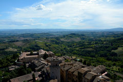 Aerial view of San Gimignano city in Tuscany, Italy. Stock Photography