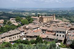 Aerial view of San Gimignano, Italy Royalty Free Stock Images