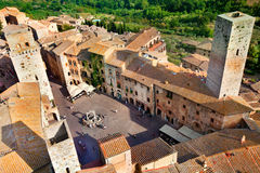 Aerial view of San Gimignano town Royalty Free Stock Photos