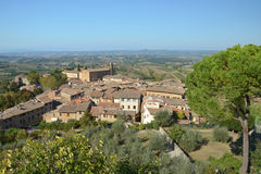Aerial view of San Gimignano walled medieval town. Aerial view of San Gimignano walled medieval hill town Stock Image