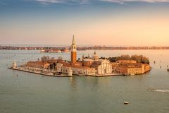 Aerial view of San Giorgio Maggiore Island in Venice. Beautiful view of San Giorgio Maggiore Island in Venice at Sunset. Italy royalty free stock photos