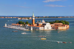 Aerial view of San Giorgio Maggiore Island in Venice, Italy Royalty Free Stock Photo
