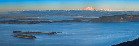 Aerial view from the San Juan Islands with Mount Baker on the ho. Rizon, Washington, USA Royalty Free Stock Photography