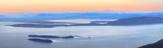 Aerial view from the San Juan Islands with Mount Baker on the ho. Rizon, Washington, USA Stock Images