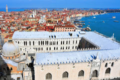 Aerial view of San Marco and Castelo districts in Venice, Italy stock image