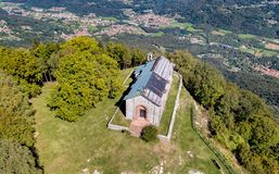 Aerial view of San Martino Church in province of Varese, Italy. stock photos