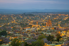Aerial View of San Miguel de Allende in Mexico After Sunset Stock Photo