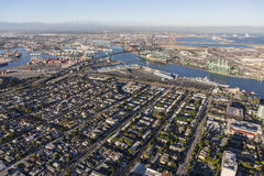 Aerial View of San Pedro California and Los Angeles Harbor Stock Photography