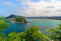 Aerial view of San Sebastian or Donostia with beach La Concha in a beautiful summer day, Spain. Aerial view of San Sebastian or Donostia with beach La Concha in royalty free stock images