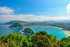 Aerial view of San Sebastian or Donostia with beach La Concha in a beautiful summer day, Spain