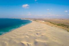 Aerial view on sand dunes in Chaves beach Praia de Chaves in Bo Royalty Free Stock Images