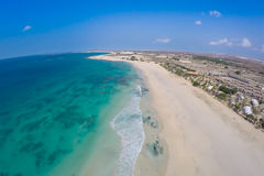 Aerial view on sand dunes in Chaves beach Praia de Chaves in Bo Royalty Free Stock Photo