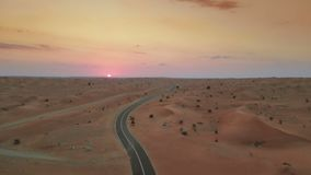 Sunset over Middle Eastern desert stock footage