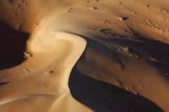 Aerial view of sand dunes at Rub Al Khali Royalty Free Stock Photo