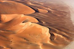 Aerial view of sand dunes at Rub Al Khali Royalty Free Stock Photography