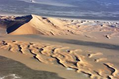 Aerial view of sand dunes at Rub Al Khali Stock Photography