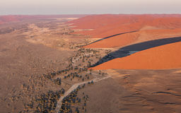 Aerial view of the Sand Dunes at Sossusvlei, Namibia Royalty Free Stock Photography