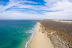 Aerial view on sand dunes in Verandinha beach in Boavista Cape V Stock Photos