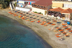 Aerial view of sandy beach in Greece Stock Image