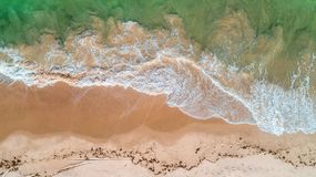 Aerial view of the sandy beach and ocean in Zanzibar stock photography