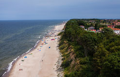 Aerial view of sandy polish beach on Baltic sea. Aerial view of sandy beach on Baltic sea in Poland Stock Images