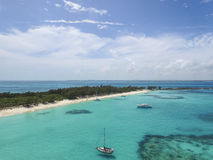 Aerial view of sandy toes island, Bahamas Beaches Royalty Free Stock Image