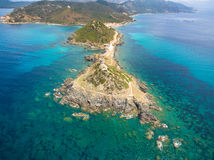 Aerial view of Sanguinaires bloodthirsty Islands in Corsica, Fra. Nce Royalty Free Stock Photo