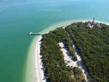 Aerial view of Sanibel beach royalty free stock photos
